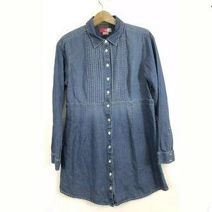 Boden Denim Shirt Dress Tunic Top Button Down